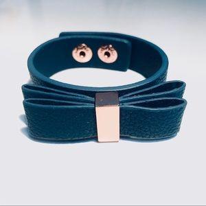 BCBGeneration Blue Leather Bow Cuff Bracelet